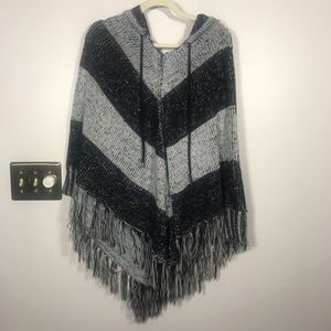 MYSTREE Black and Gray Hooded Poncho, size M/L